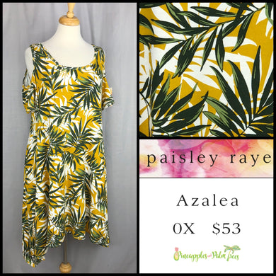 Paisley Raye Azalea cold shoulder dress 0X White leaves, shop the Paisley Raye Azalea dress at pineapplesandpalmtrees.net or locally in Lincoln, California, in the Twelve Bridges Community.
