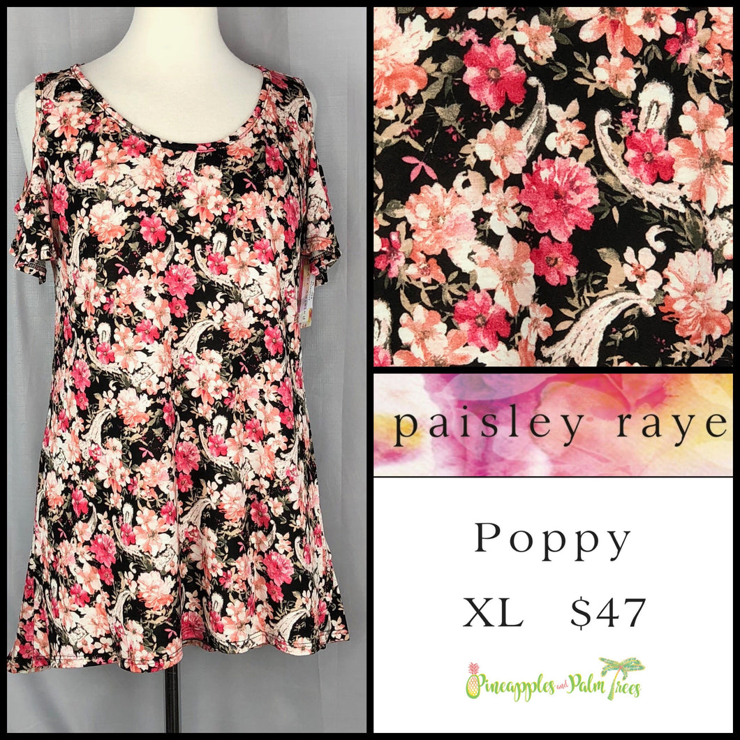 Paisley Raye Plumeria top Black Floral XL. Shop this beautiful Paisley Raye Plumeria top and more at pineapplesandpalmtrees.net or locally in the Twelve Bridges Community of Lincoln, California.
