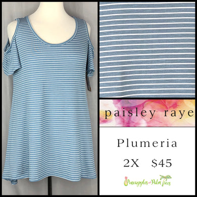 Paisley Raye Plumeria top Light blue/white striped 2X. Shop this beautiful Paisley Raye Plumeria top and more at pineapplesandpalmtrees.net or locally in the Twelve Bridges Community of Lincoln, California.