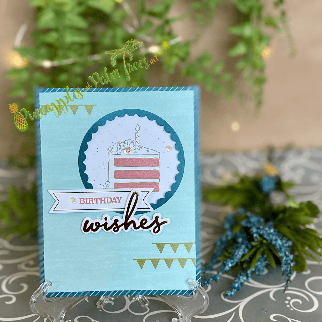 Greeting Card: BIRTHDAY wishes - blue background with round window to cake and embellishments | Stampin' Up's Paper Pumpkin
