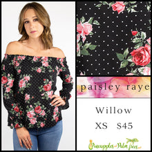 Load image into Gallery viewer, Paisley Raye Willow XS Black floral with dots top, shop this Paisley Raye Willow Top and more at pineapplesandpalmtrees.net or locally in the Twelve Bridges Community of Lincoln, California.