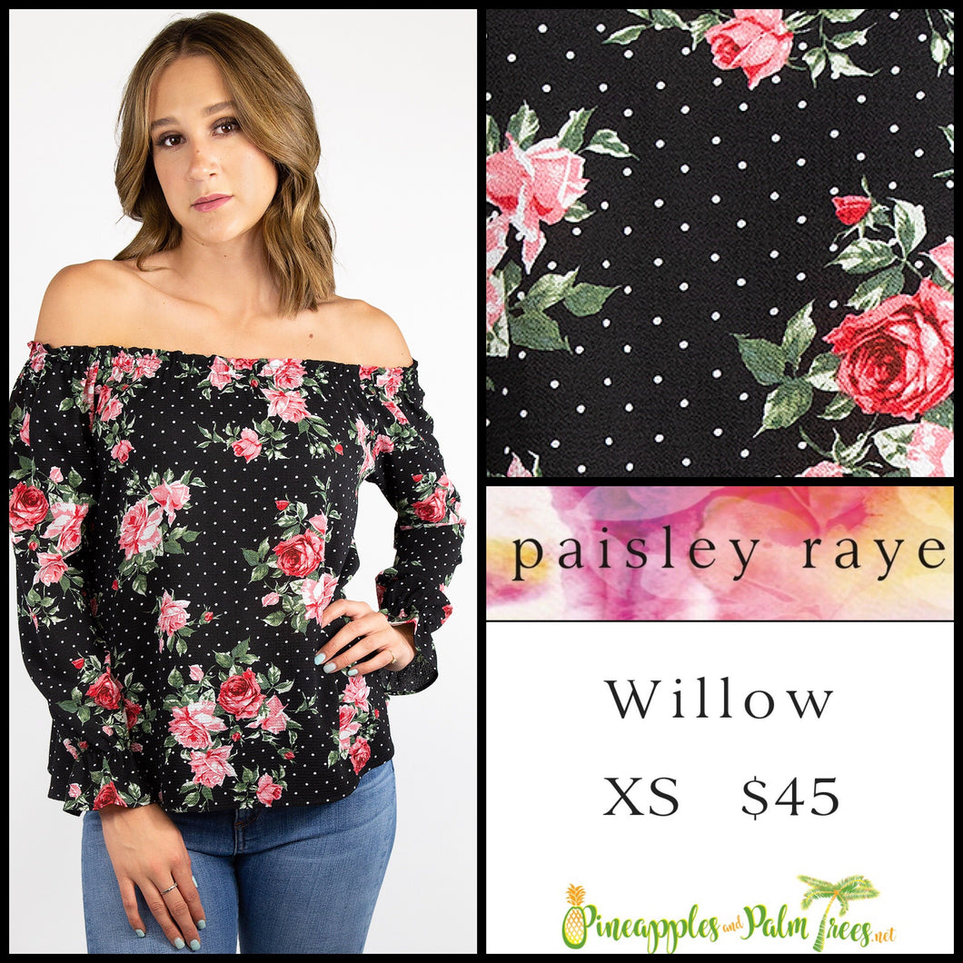 Paisley Raye Willow XS Black floral with dots top, shop this Paisley Raye Willow Top and more at pineapplesandpalmtrees.net or locally in the Twelve Bridges Community of Lincoln, California.