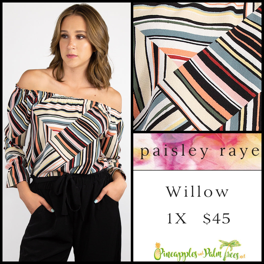 Paisley Raye Willow 1X multi colored top with black stripes, shop this Paisley Raye Willow Top and more at pineapplesandpalmtrees.net or locally in the Twelve Bridges Community of Lincoln, California.