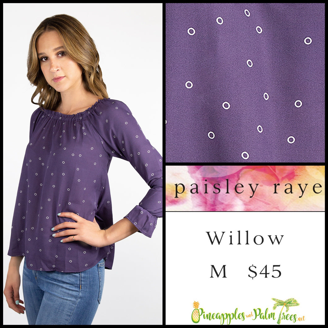 Paisley Raye Willow M solid purple top with white circles, shop this Paisley Raye Willow Top and more at pineapplesandpalmtrees.net or locally in the Twelve Bridges Community of Lincoln, California.