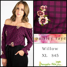Load image into Gallery viewer, Paisley Raye Willow XL grape top with floral plaid, shop this Paisley Raye Willow Top and more at pineapplesandpalmtrees.net or locally in the Twelve Bridges Community of Lincoln, California.