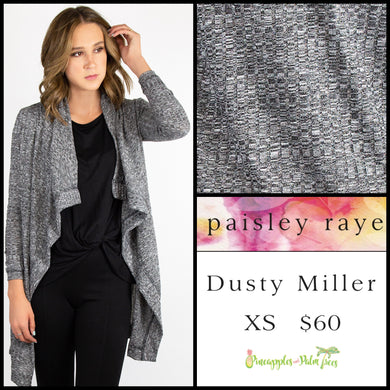 Paisley Raye Dusty Miller  Cardigan in XS Heathered Gray, shop this Paisley Raye Dusty Miller Cardigan and more at pineapplesandpalmtrees.net or locally in the Twelve Bridges Community.Lincoln, California.