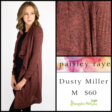 Paisley Raye Dusty Miller Cardigan in M Heathered Terra Cotta, shop this Paisley Raye Dusty Miller Cardigan and more at pineapplesandpalmtrees.net or locally in the Twelve Bridges Community.Lincoln, California.