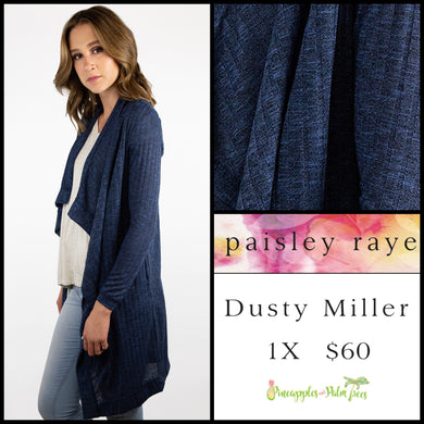 Paisley Raye Dusty Miller Cardigan in 1X Heathered Midnight Blue, shop this Paisley Raye Dusty Miller Cardigan and more at pineapplesandpalmtrees.net or locally in the Twelve Bridges Community.Lincoln, California.