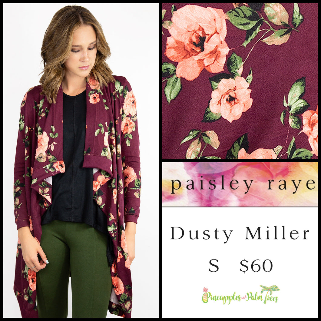 Paisley Raye Dusty Miller Cardigan in S Floral Burgundy, shop this Paisley Raye Dusty Miller Cardigan and more at pineapplesandpalmtrees.net or locally in the Twelve Bridges Community.Lincoln, California.
