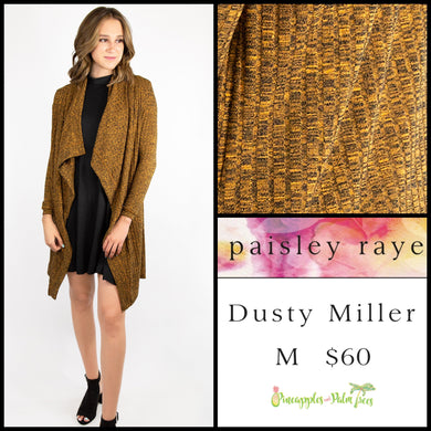 Paisley Raye Dusty Miller Cardigan in M Heathered Mustard, shop this Paisley Raye Dusty Miller Cardigan and more at pineapplesandpalmtrees.net or locally in the Twelve Bridges Community.Lincoln, California.