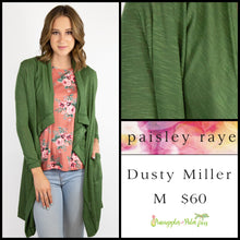 Load image into Gallery viewer, Paisley Raye Dusty Miller Cardigan in M Solid Green, shop this Paisley Raye Dusty Miller Cardigan and more at pineapplesandpalmtrees.net or locally in the Twelve Bridges Community.Lincoln, California.