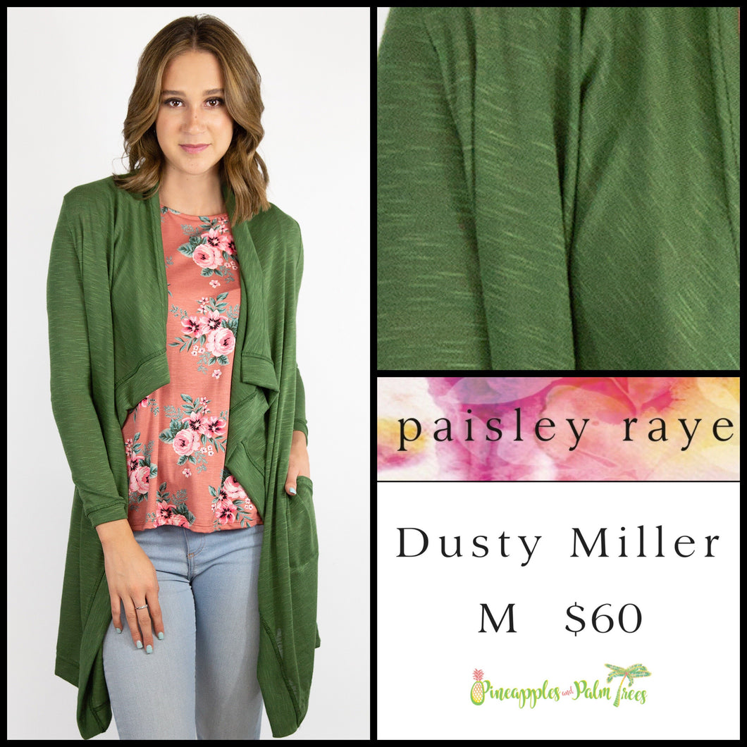 Paisley Raye Dusty Miller Cardigan in M Solid Green, shop this Paisley Raye Dusty Miller Cardigan and more at pineapplesandpalmtrees.net or locally in the Twelve Bridges Community.Lincoln, California.