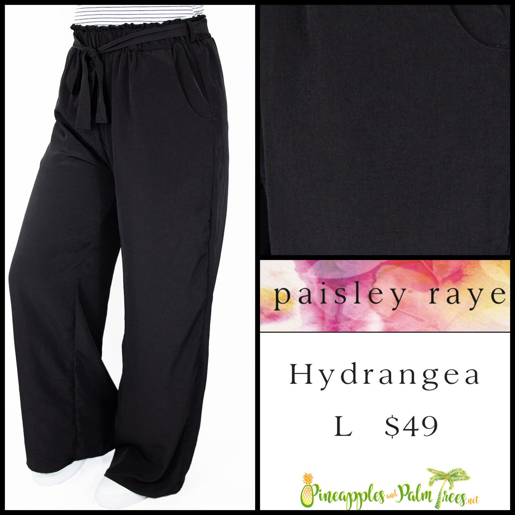 Paisley Raye Hydrangea pant in L, solid black, shop this Paisley Raye Hydrangea Pant and more at pineapplesandpalmtrees.net or locally in the Twelve Bridges Community of Lincoln, California.