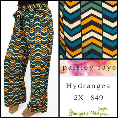 Paisley Raye Hydrangea pant in 2X, multi colored chevron, shop this Paisley Raye Hydrangea Pant and more at pineapplesandpalmtrees.net or locally in the Twelve Bridges Community of Lincoln, California.