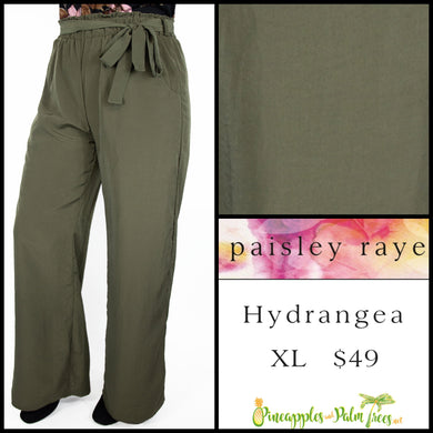 Paisley Raye Hydrangea pant in XL, solid Olive, shop this Paisley Raye Hydrangea Pant and more at pineapplesandpalmtrees.net or locally in the Twelve Bridges Community of Lincoln, California.