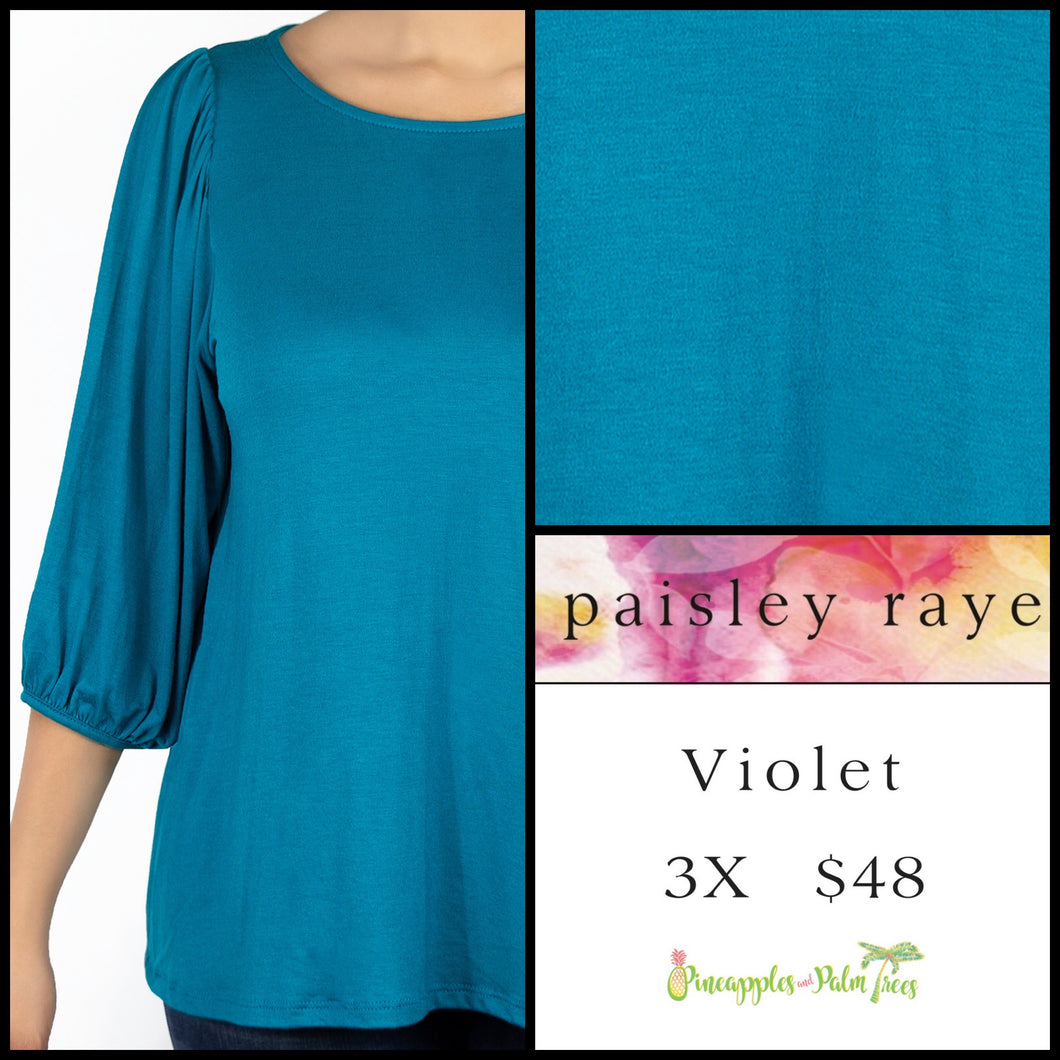 Paisley Raye Violet Top in 3X, solid aqua, shop this Paisley Raye Violet Top and more at pineapplesandpalmtrees.net or locally in the Twelve Bridges Community of Lincoln, California.