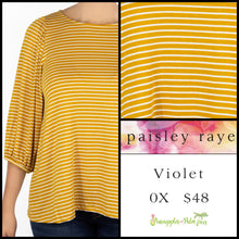 Load image into Gallery viewer, Paisley Raye Violet Top in 0X canary/white stripes, shop this Paisley Raye Violet Top and more at pineapplesandpalmtrees.net or locally in the Twelve Bridges Community of Lincoln, California.