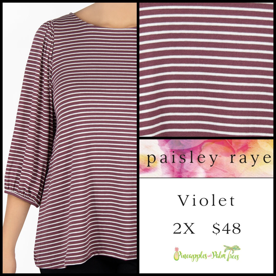 Paisley Raye Violet Top in 2X, cinnamon/white stripes, shop this Paisley Raye Violet Top and more at pineapplesandpalmtrees.net or locally in the Twelve Bridges Community of Lincoln, California.