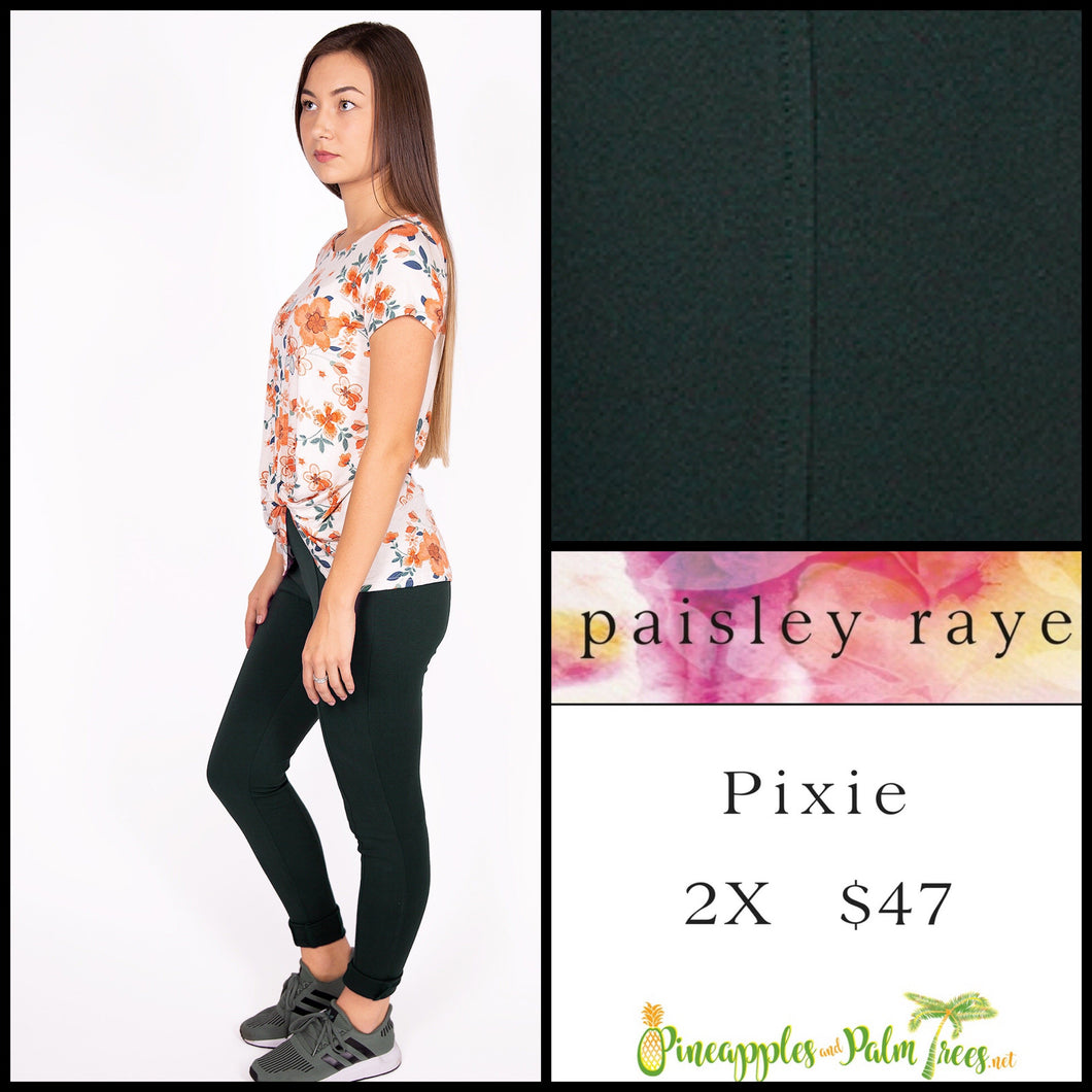 Paisley Raye Pixie pant in 2X, solid dark green, shop this Paisley Raye Pixie Pant and more at pineapplesandpalmtrees.net or locally in the Twelve Bridges Community of Lincoln, California.