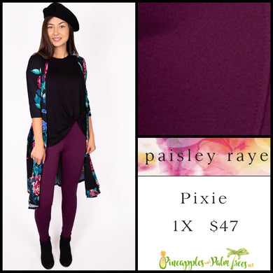 Paisley Raye Pixie pant in 1X, solid plum, shop this Paisley Raye Pixie Pant and more at pineapplesandpalmtrees.net or locally in the Twelve Bridges Community of Lincoln, California.
