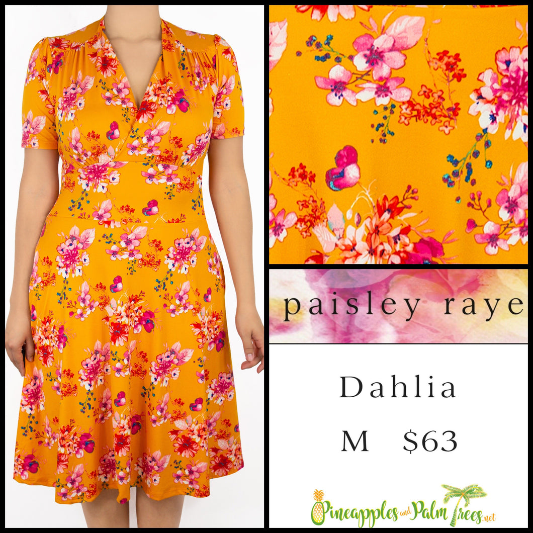 Paisley Raye Dahlia dress in M orange floral, shop these Paisley Raye Dahlia Dresses and more at pineapplesandpalmtrees.net or locally in the Twelve Bridges Community of .Lincoln, California.