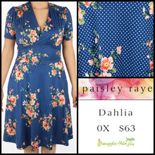 Load image into Gallery viewer, Paisley Raye Dahlia dress in 0X blue floral with white polka dots, shop these Paisley Raye Dahlia Dresses and more at pineapplesandpalmtrees.net or locally in the Twelve Bridges Community of .Lincoln, California.