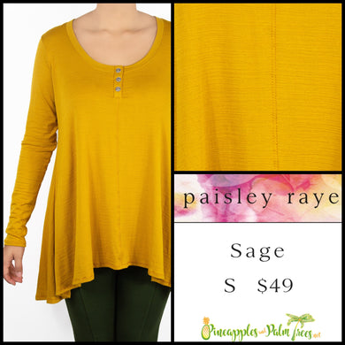 Paisley Raye Sage Top in S Solid mustard, shop this Paisley Raye Sage Top and more at pineapplesandpalmtrees.net or locally in the Twelve Bridges Community of Lincoln, California.