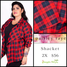 Load image into Gallery viewer, Paisley Raye Shacket 2X red/navy plaid, shop this Paisley Raye Shacket and more at pineapplesandpalmtrees.net or locally in the Twelve Bridges Community of Lincoln, California.
