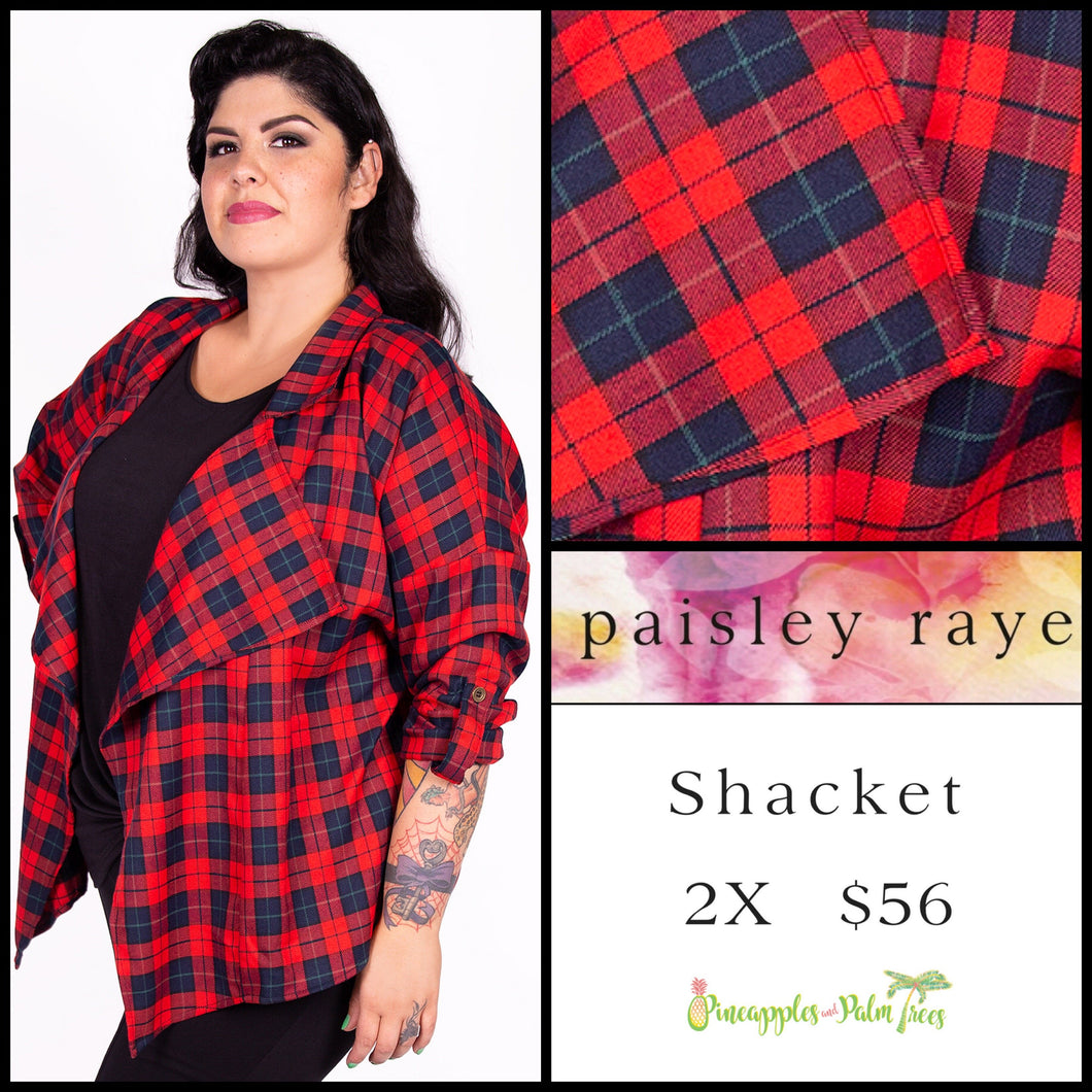 Paisley Raye Shacket 2X red/navy plaid, shop this Paisley Raye Shacket and more at pineapplesandpalmtrees.net or locally in the Twelve Bridges Community of Lincoln, California.