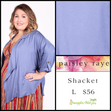Load image into Gallery viewer, Paisley Raye Shacket L light blue Solid, shop this Paisley Raye Shacket and more at pineapplesandpalmtrees.net or locally in the Twelve Bridges Community of Lincoln, California.