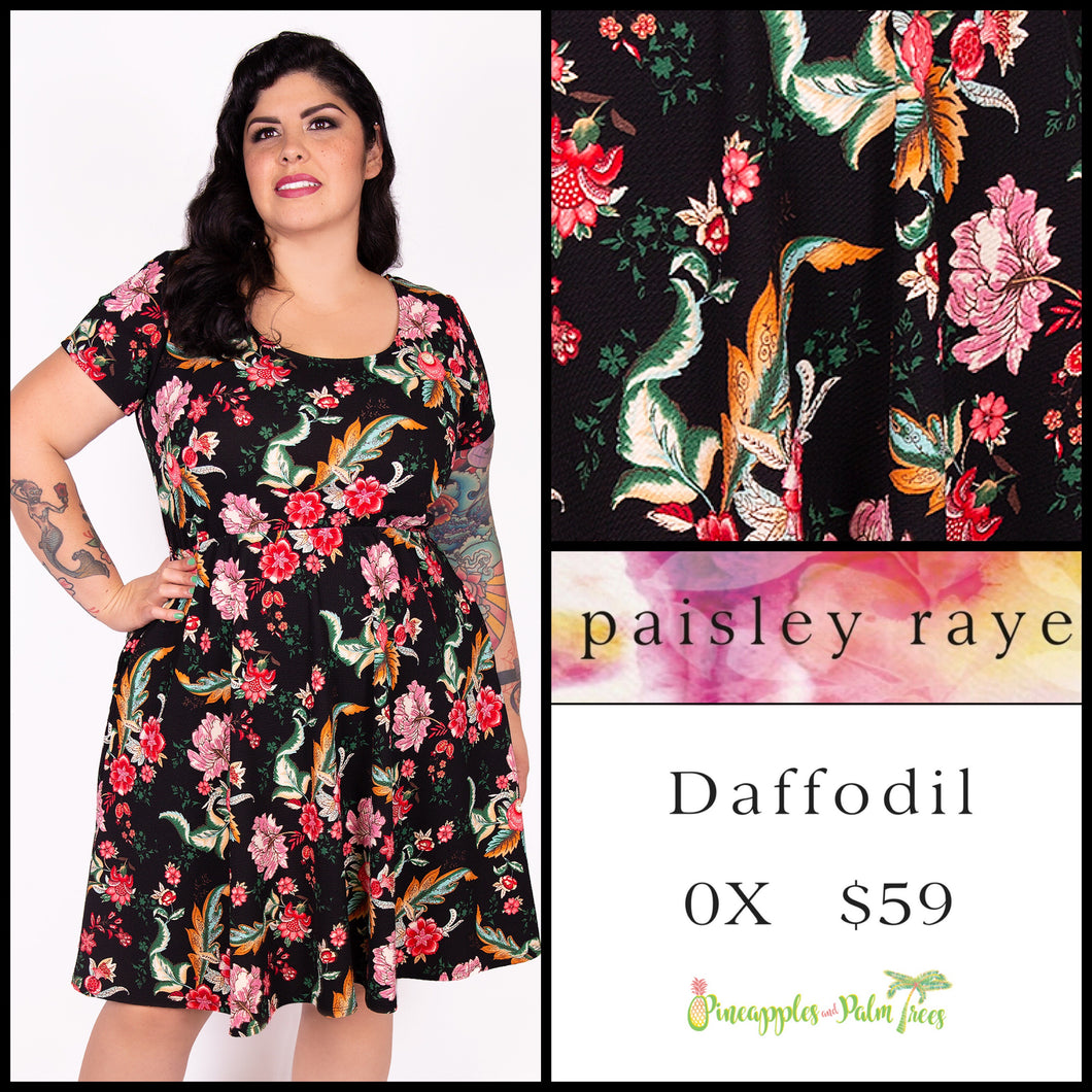 Paisley Raye Daffodil Dress 0X black floral, shop this Paisley Raye Daffodil dress and more at pineapplesandpalmtrees.net or locally in the Twelve Bridges Community.Lincoln, California,