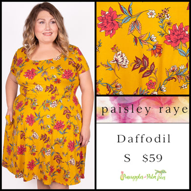 Paisley Raye Daffodil Dress S mustard floral, shop this Paisley Raye Daffodil dress and more at pineapplesandpalmtrees.net or locally in the Twelve Bridges Community.Lincoln, California,