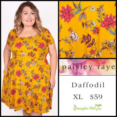 Paisley Raye Daffodil Dress XL mustard floral, shop this Paisley Raye Daffodil dress and more at pineapplesandpalmtrees.net or locally in the Twelve Bridges Community.Lincoln, California,