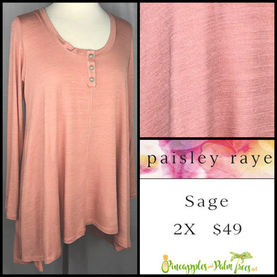 Paisley Raye Sage Top in 2X solid Blush, shop this Paisley Raye Sage Top and more at pineapplesandpalmtrees.net or locally in the Twelve Bridges Community of Lincoln, California.