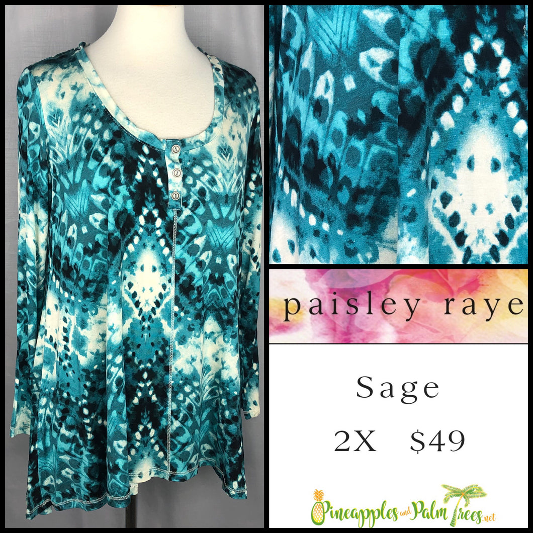 Paisley Raye Sage Top in 2X Aqua print, shop this Paisley Raye Sage Top and more at pineapplesandpalmtrees.net or locally in the Twelve Bridges Community of Lincoln, California.