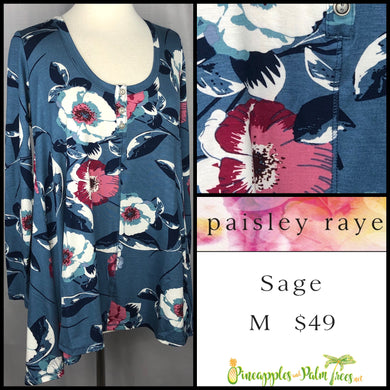 Paisley Raye Sage Top in M Blue Floral, shop this Paisley Raye Sage Top and more at pineapplesandpalmtrees.net or locally in the Twelve Bridges Community of Lincoln, California.