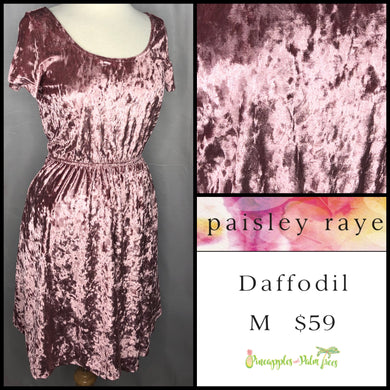 Paisley Raye Daffodil Dress M pink crushed velvet, shop this Paisley Raye Daffodil dress and more at pineapplesandpalmtrees.net or locally in the Twelve Bridges Community.Lincoln, California,