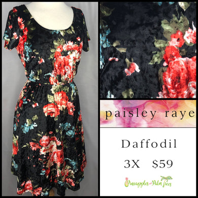 Paisley Raye Daffodil Dress 3X, black floral crushed velvet, shop this Paisley Raye Daffodil dress and more at pineapplesandpalmtrees.net or locally in the Twelve Bridges Community.Lincoln, California,