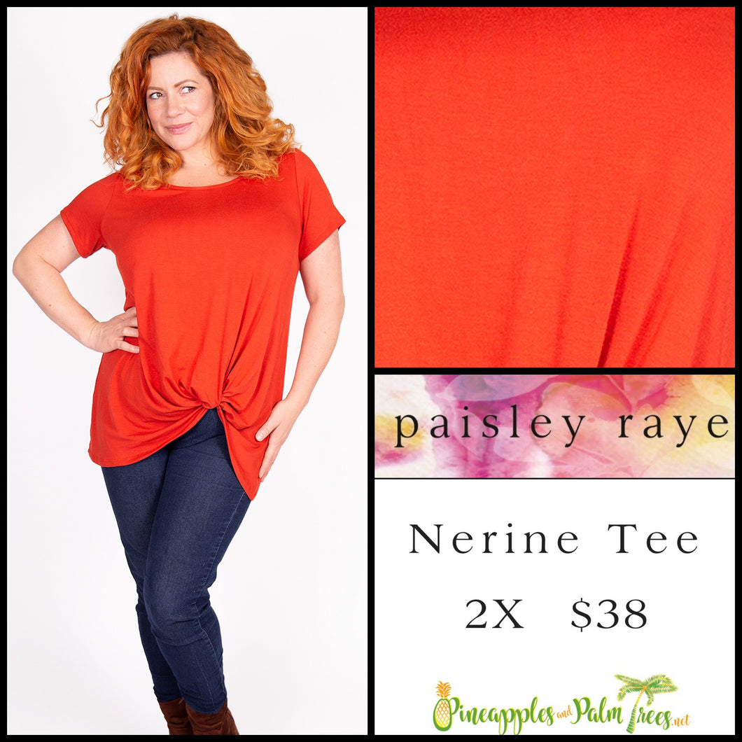 Paisley Raye Nerine Tee, 2X solid Orange, shop this Paisley Raye Nerine Tee Shirt and more at pineapplesandpalmtrees.net or locally in the Twelve Bridges Community of Lincoln, California.
