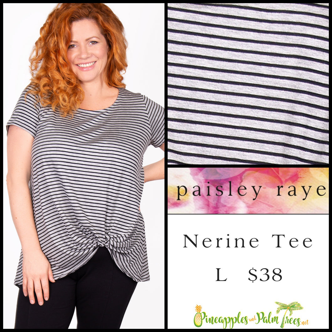 Paisley Raye Nerine Tee, L Gray/Black Stripes, shop this Paisley Raye Nerine Tee Shirt and more at pineapplesandpalmtrees.net or locally in the Twelve Bridges Community of Lincoln, California.