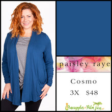 Load image into Gallery viewer, Paisley Raye Cosmo sweater, 3X sold Yale Blue, shop this Paisley Raye Cosmo and more at pineapplesandpalmtrees.net or locally in the Twelve Bridges Community.Lincoln, California,