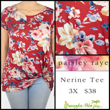 Load image into Gallery viewer, Paisley Raye Nerine Tee, 3X Crimson Floral, shop this Paisley Raye Nerine Tee Shirt and more at pineapplesandpalmtrees.net or locally in the Twelve Bridges Community of Lincoln, California.