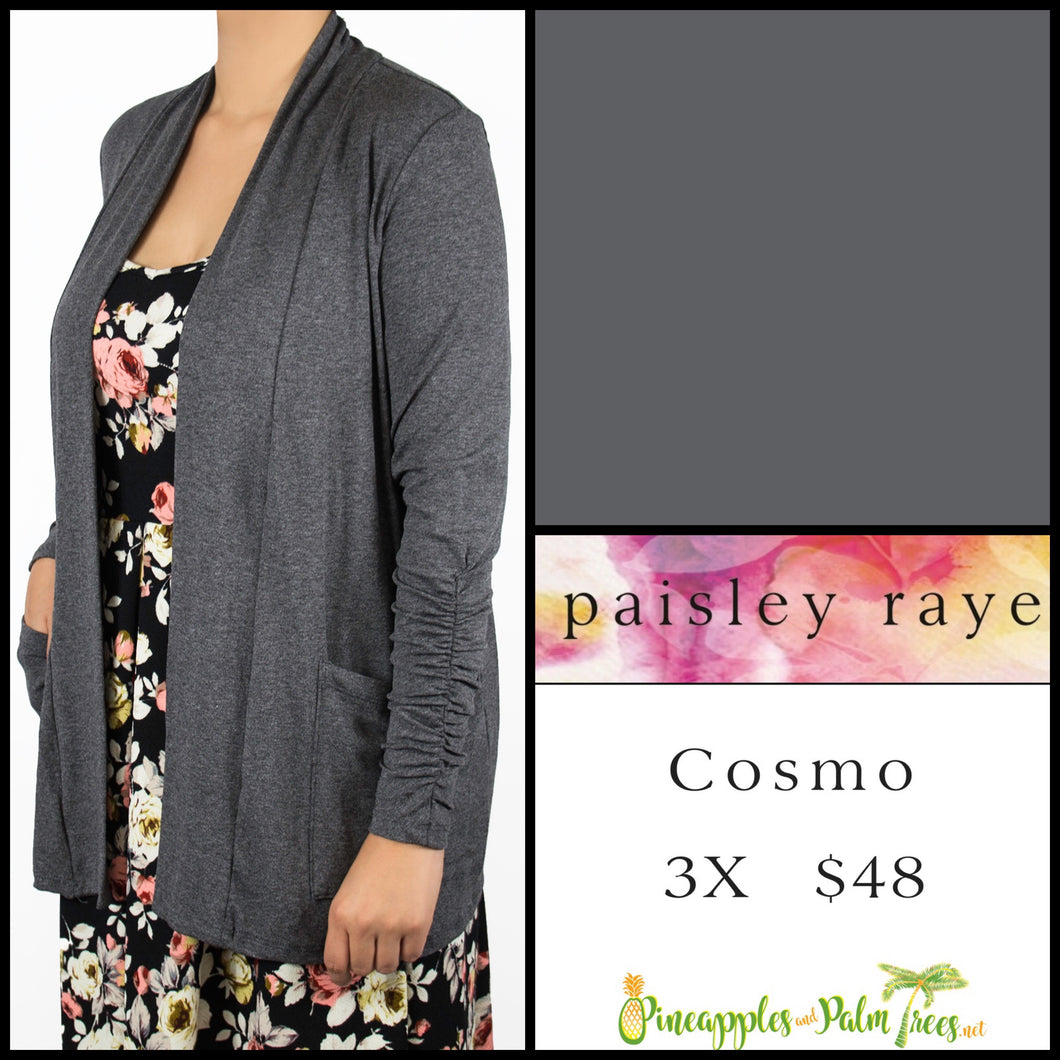 Paisley Raye Cosmo sweater 3X solid Dark Gray, shop this Paisley Raye Cosmo and more at pineapplesandpalmtrees.net or locally in the Twelve Bridges Community.Lincoln, California,