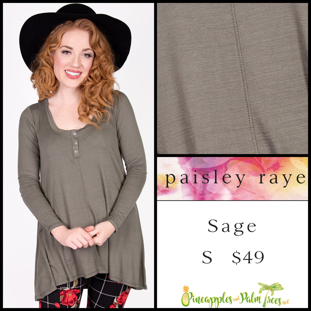 Paisley Raye Sage Top in S solid Olive, shop this Paisley Raye Sage Top and more at pineapplesandpalmtrees.net or locally in the Twelve Bridges Community of Lincoln, California.