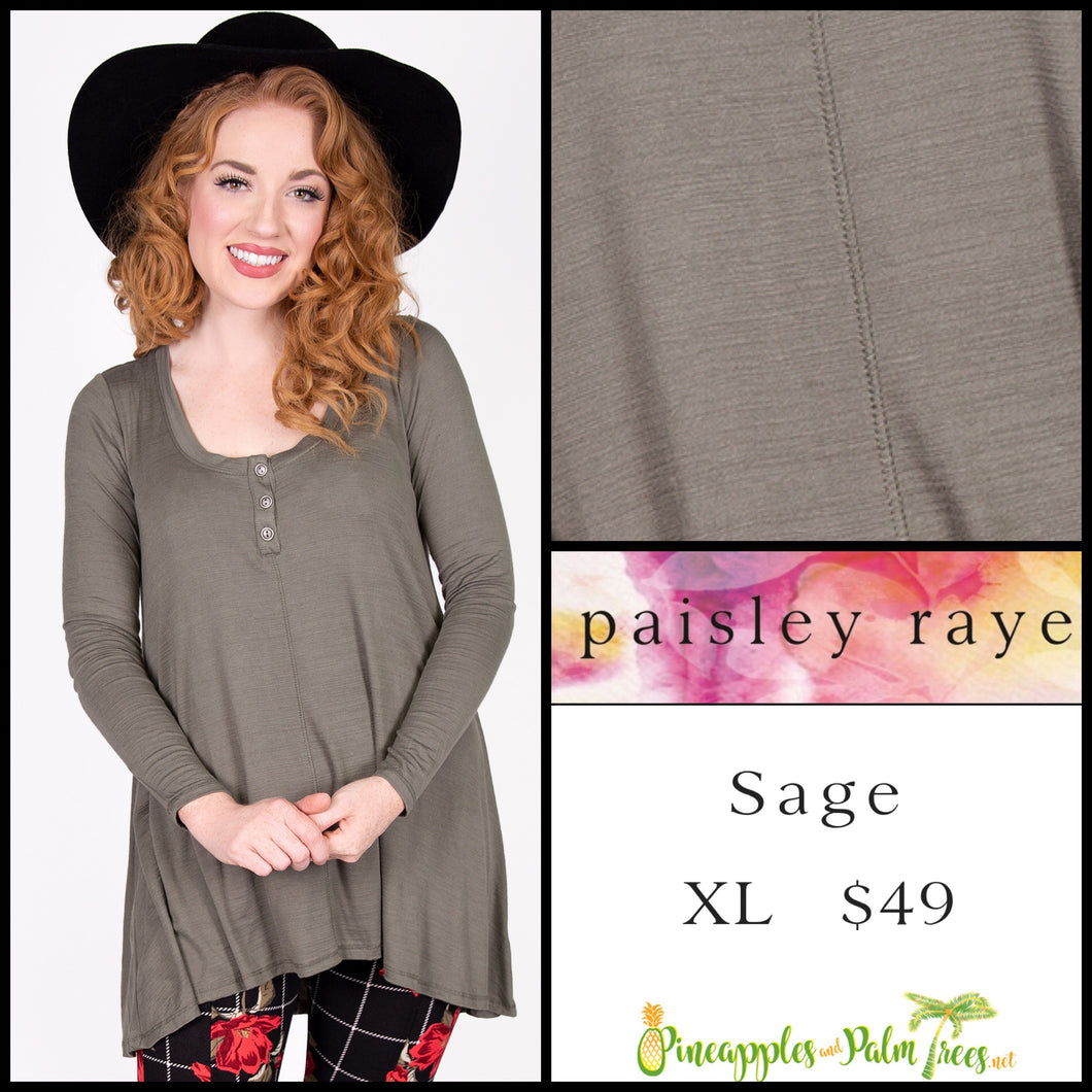 Paisley Raye Sage Top in XL Solid Olive, shop this Paisley Raye Sage Top and more at pineapplesandpalmtrees.net or locally in the Twelve Bridges Community of Lincoln, California.