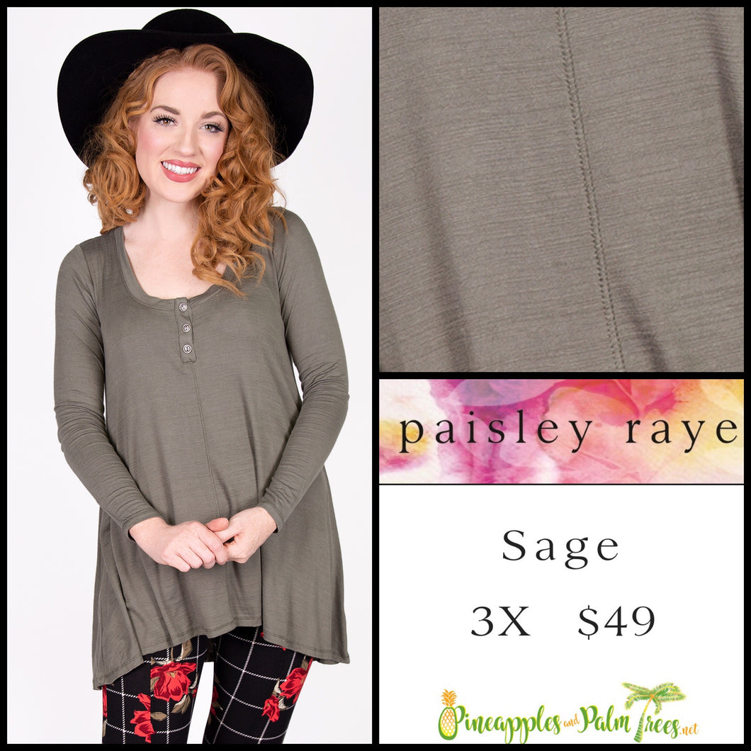 Paisley Raye Sage Top in 3X Solid Olive, shop this Paisley Raye Sage Top and more at pineapplesandpalmtrees.net or locally in the Twelve Bridges Community of Lincoln, California.