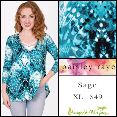 Paisley Raye Sage Top in XL Aqua print, shop this Paisley Raye Sage Top and more at pineapplesandpalmtrees.net or locally in the Twelve Bridges Community of Lincoln, California.
