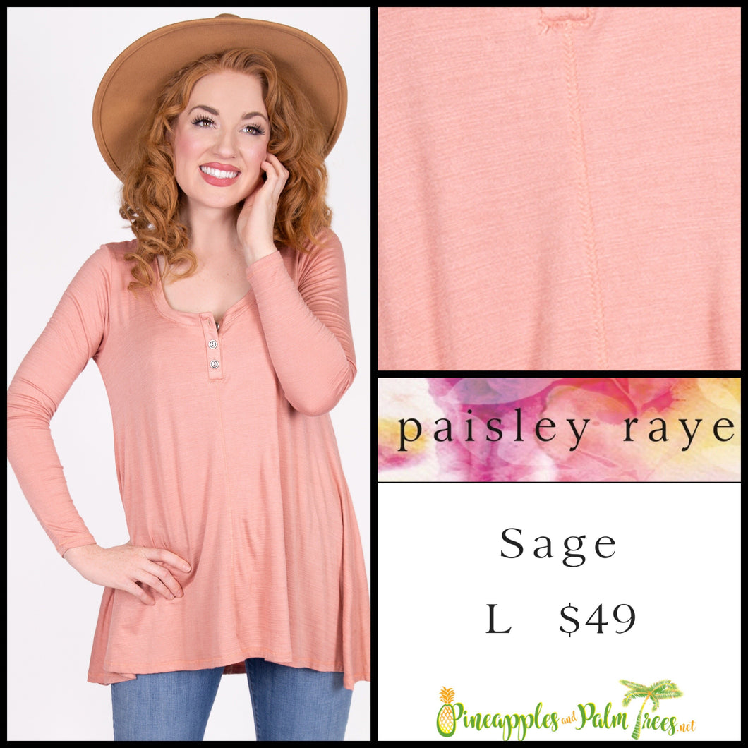 Paisley Raye Sage Top in L solid Blush, shop this Paisley Raye Sage Top and more at pineapplesandpalmtrees.net or locally in the Twelve Bridges Community of Lincoln, California.