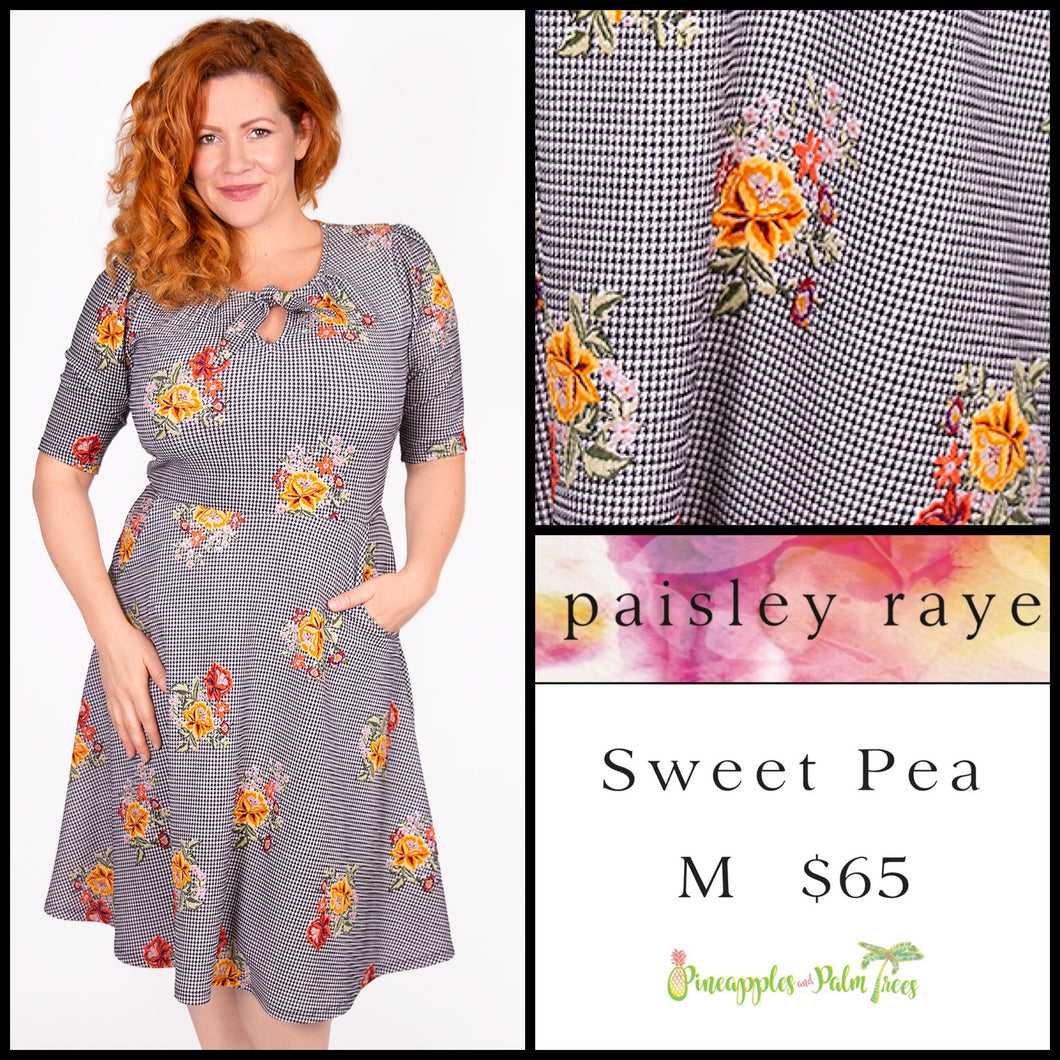 Paisley Raye Sweet Pea dress M Black/White Checkered Floral, shop this Paisley Raye Sweet Pea Dress and more at pineapplesandpalmtrees.net or locally in the Twelve Bridges Community of Lincoln, California.