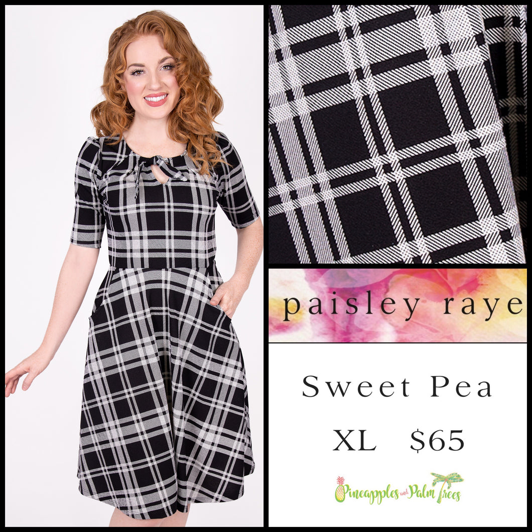 Paisley Raye Sweet Pea dress XL black/white plaid, shop this Paisley Raye Sweet Pea Dress and more at pineapplesandpalmtrees.net or locally in the Twelve Bridges Community of Lincoln, California.